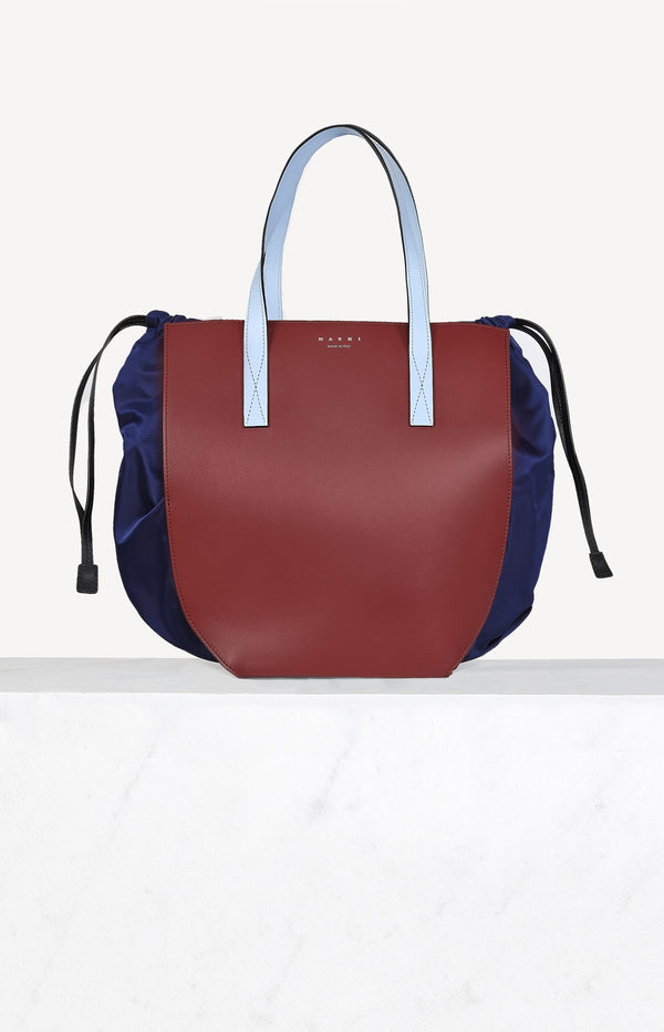 Gusset Shopping Bag in Navy/BurgundyMarni - Anita Hass