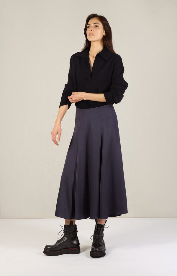 Paneled Skirt in NavyVince - Anita Hass