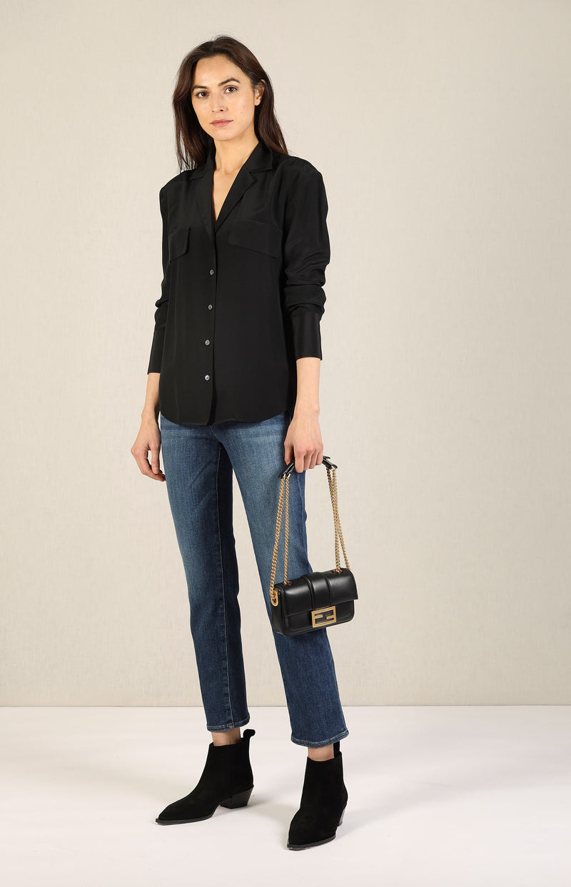 Seidenbluse Pocket in NoirFrame Denim - Anita Hass