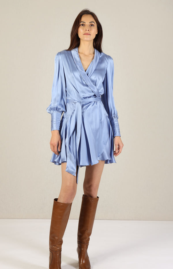 Silk Wrap Mini Dress in CornflowerZimmermann - Anita Hass