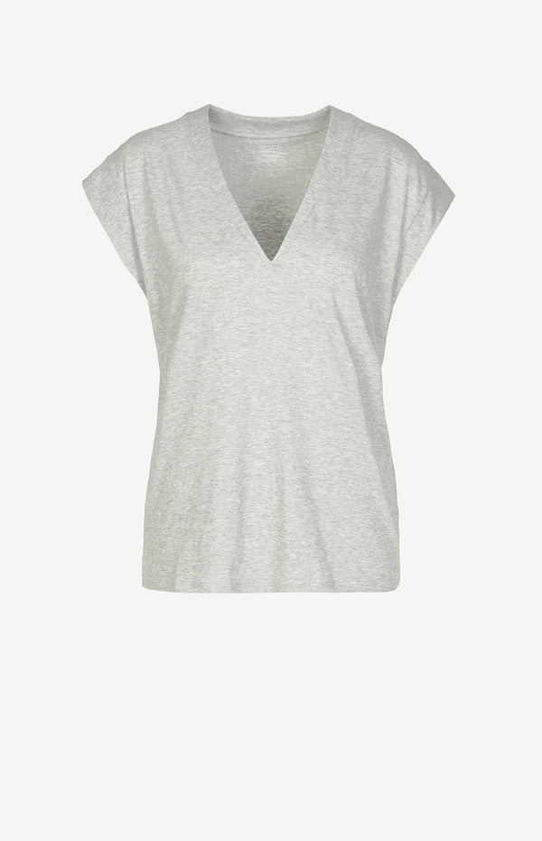 T-Shirt Le Mid Rise V in Gris HeatherFrame Denim - Anita Hass