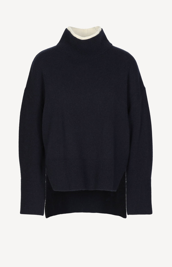 Pullover Boxy in Navy/MultiFrame Denim - Anita Hass