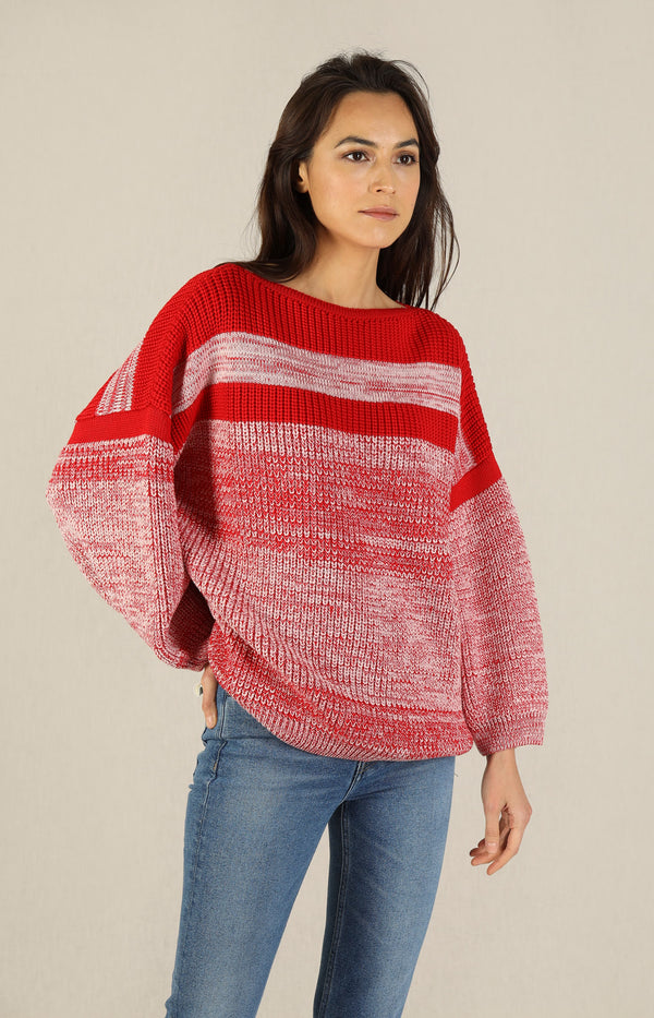 Merino-Pullover in Red MoulineKarin Rocke - Anita Hass