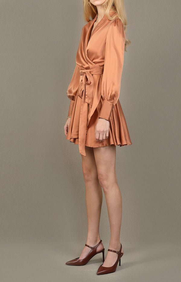 Silk Wrap Mini Dress in SandalwoodZimmermann - Anita Hass