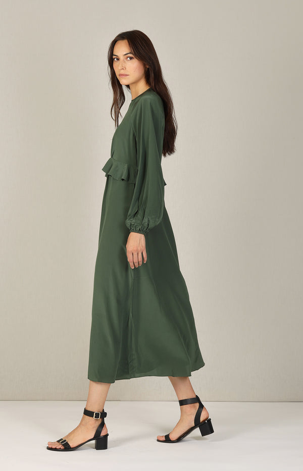 Silk Flounce Midi Dress in Bottle GreenZimmermann - Anita Hass