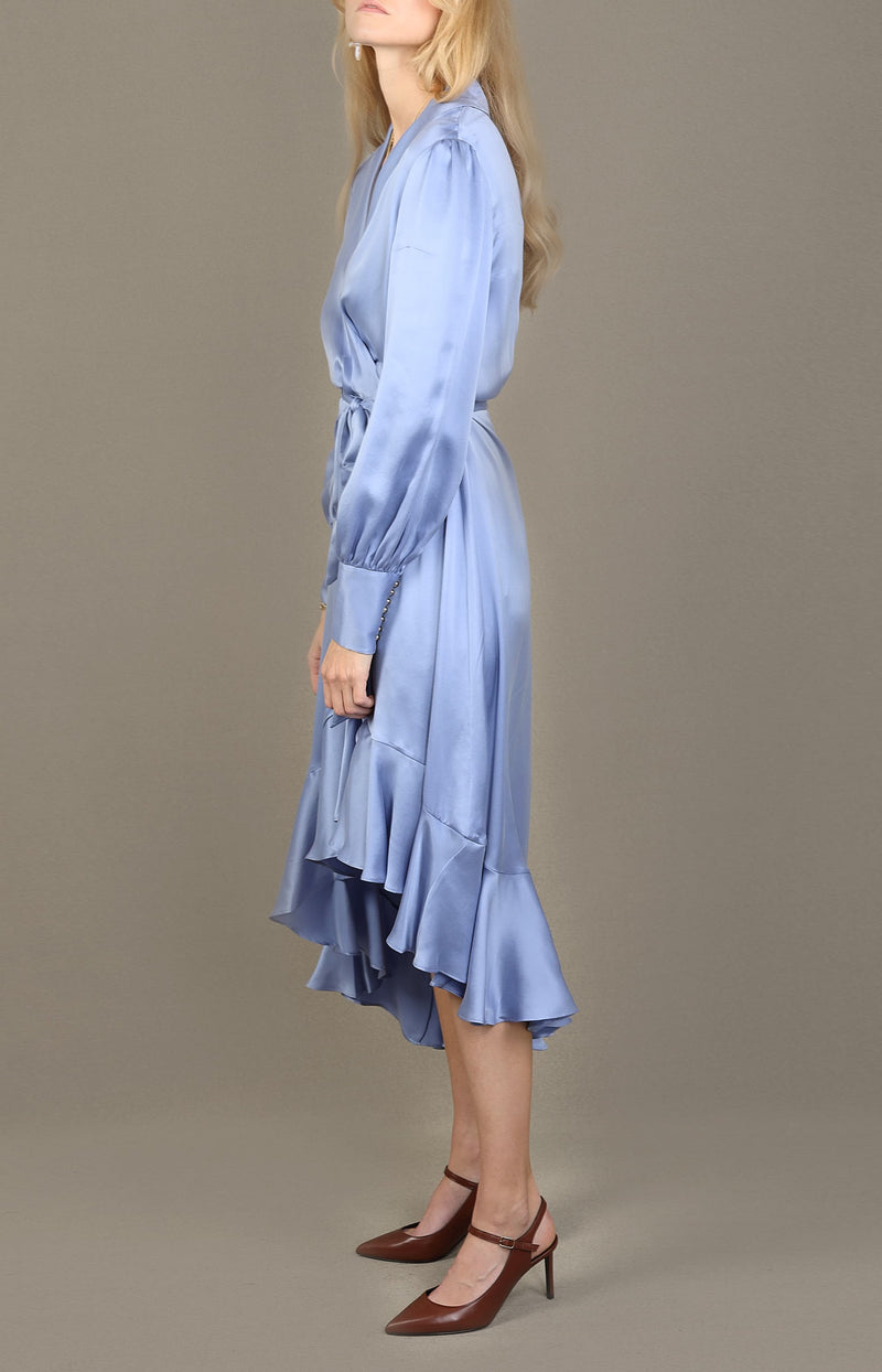 Silk Wrap Midi Dress in CornflowerZimmermann - Anita Hass