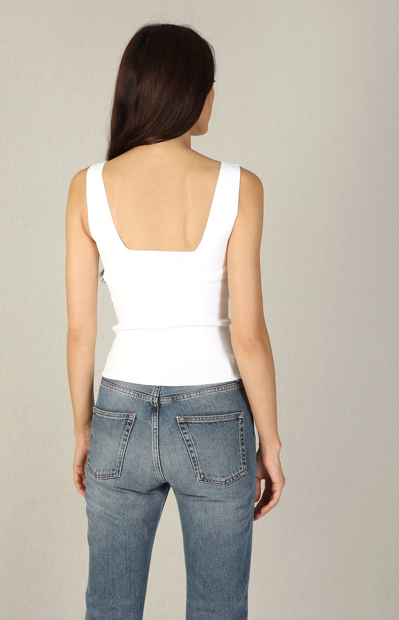 Square Neck Tank Top in Optic WhiteVince - Anita Hass