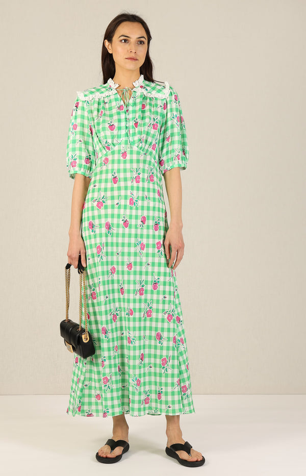Kleid Gwen in Gingham Rose/Green PinkRixo - Anita Hass
