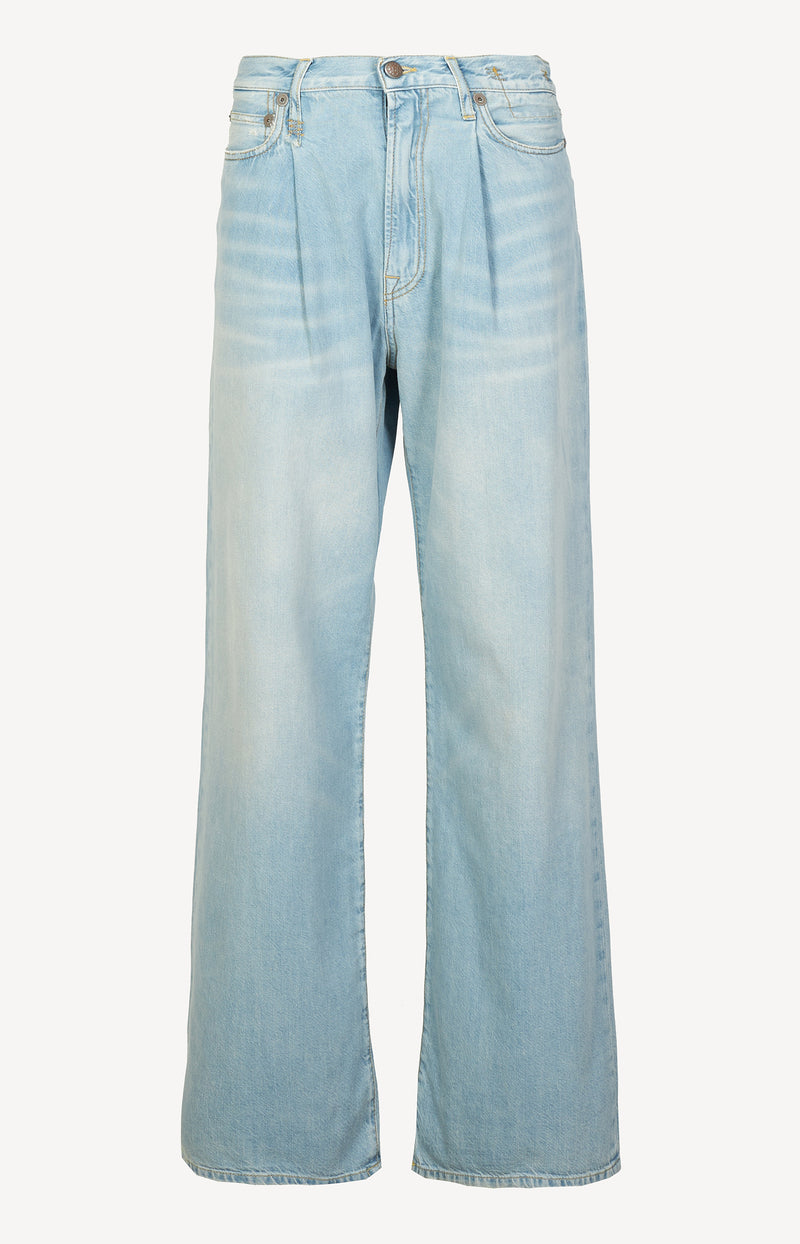 Jeans Damon Pleated Wide Leg in Lennon BlueR13 - Anita Hass