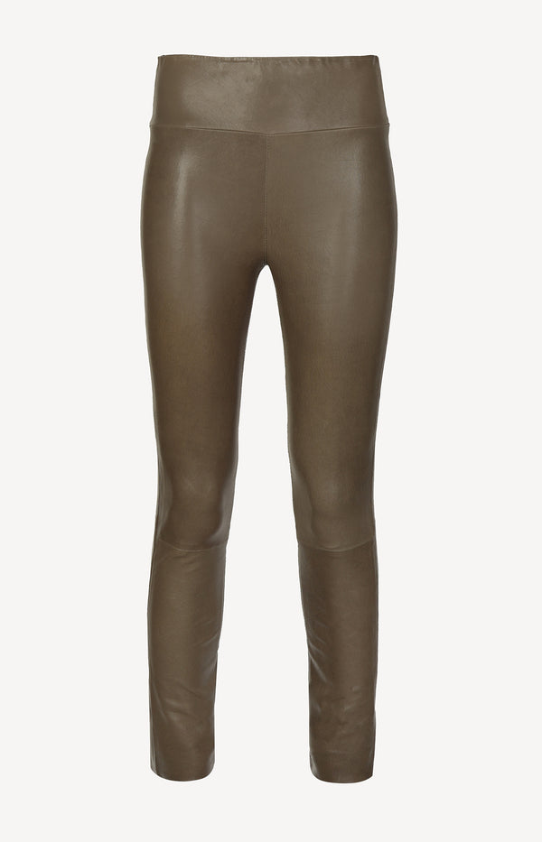 Lederleggings High Waist Ankle in ArmySPRWMN - Anita Hass