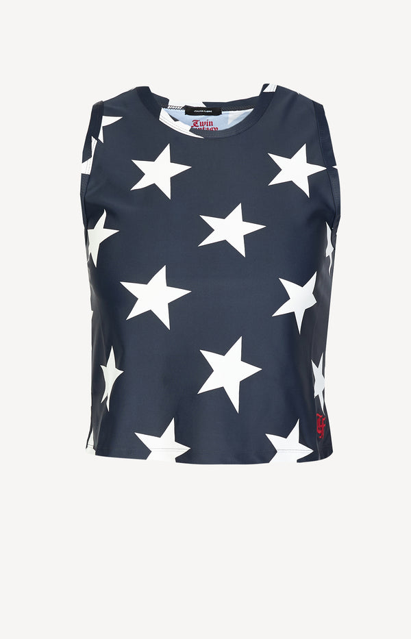 Cropped Tank Top in Navy StarR13 - Anita Hass