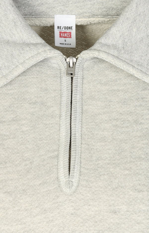 Sweatshirt 70s Half Zip in Heather GreyRE/DONE - Anita Hass