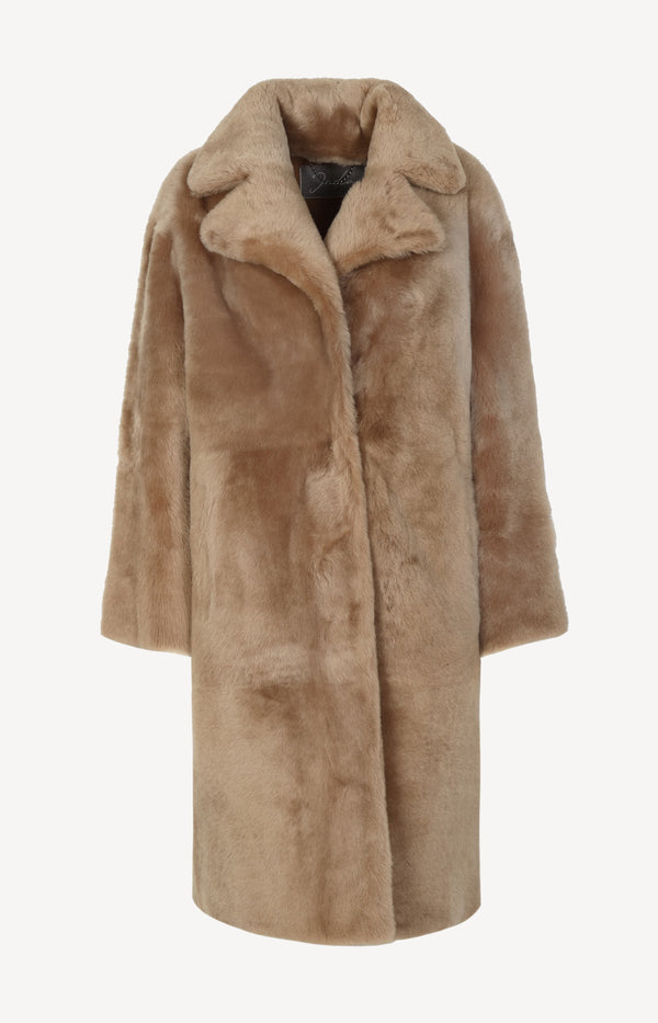 Mantel Long Coat in CamelJadia - Anita Hass