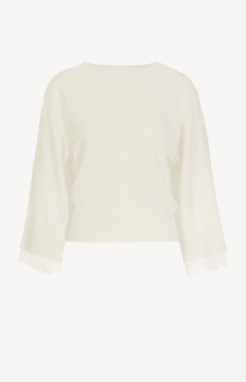 Pullover mit Spitzensaum in Confident WhiteSee by Chloé - Anita Hass
