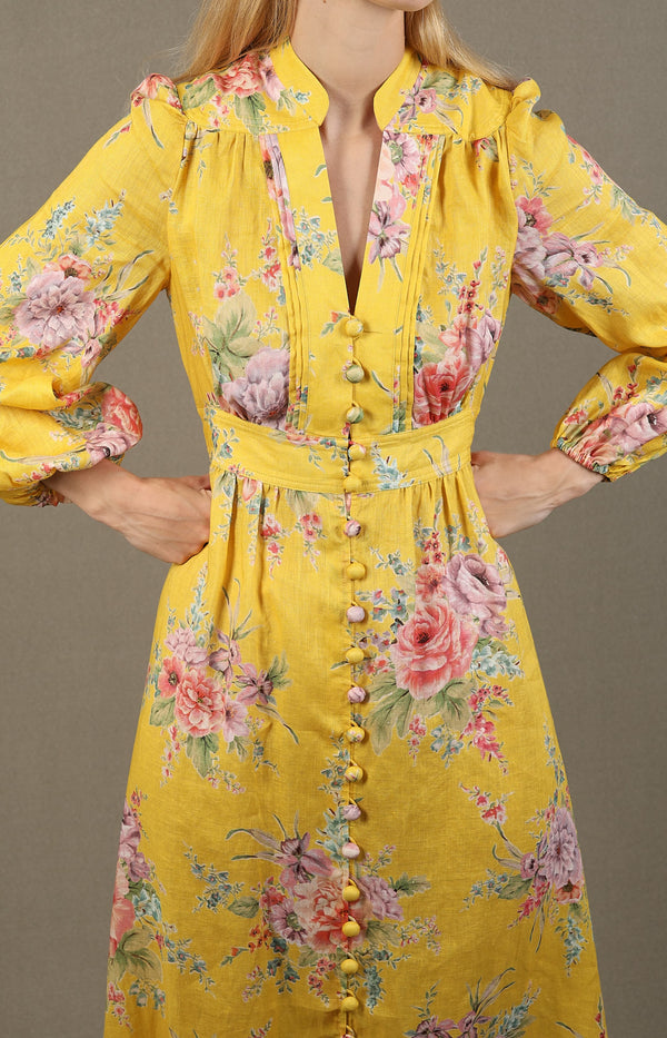 Kleid Zinnia Button Down in Golden FloralZimmermann - Anita Hass