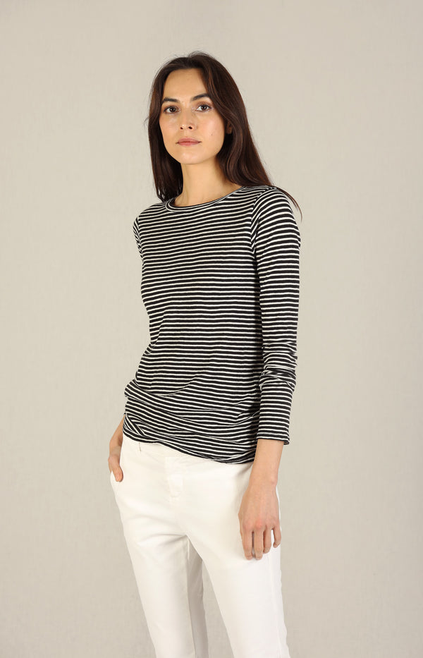 Long Sleeve Shirt in Black/White StripesNili Lotan - Anita Hass