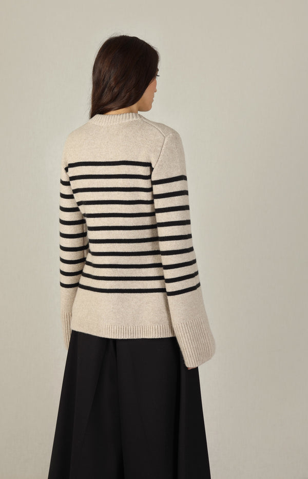 Cardigan Suzette in Powder/BlackKhaite - Anita Hass