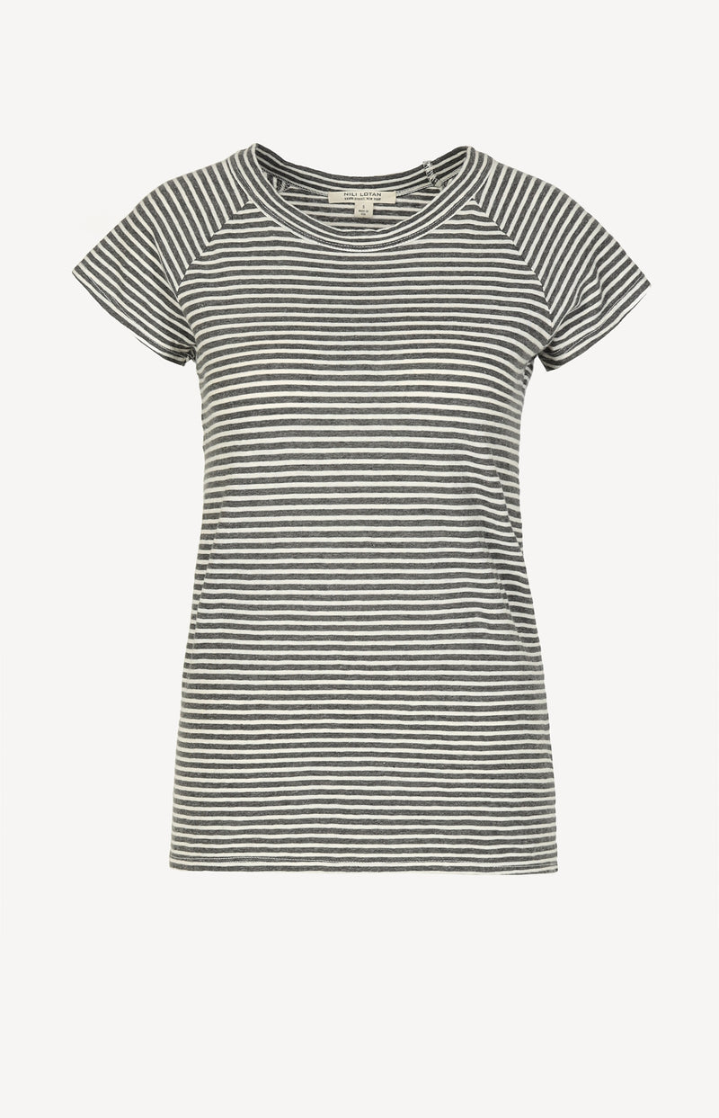 T-Shirt Short Sleeve Baseball in Charcoal/WhiteNili Lotan - Anita Hass