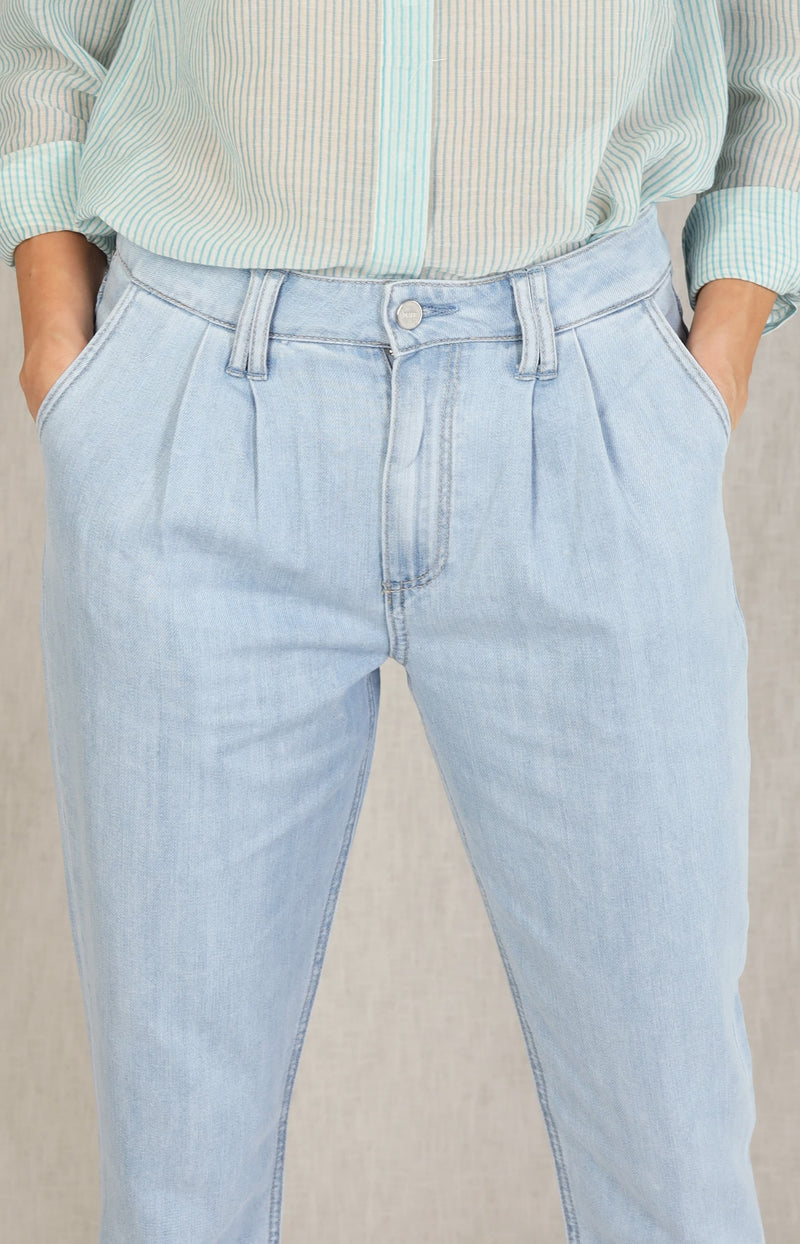Jeans Pleated Trouser in ParisunPaige - Anita Hass