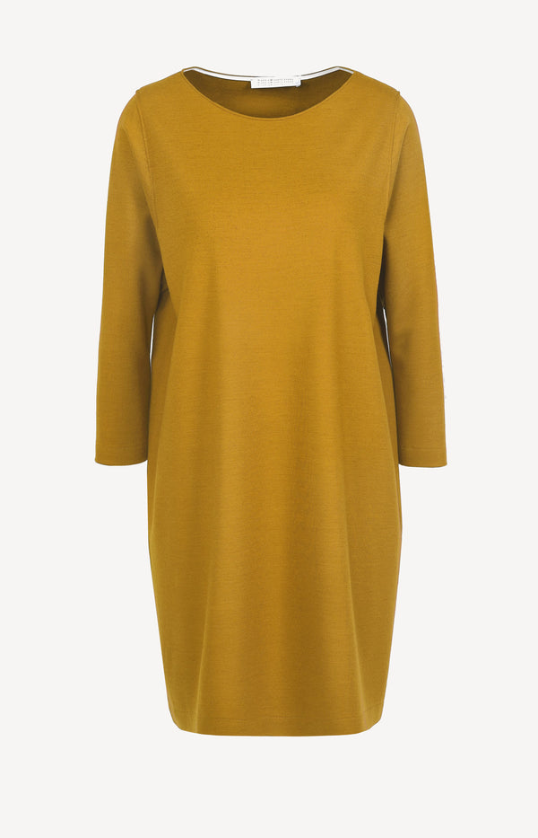 Wollkleid Geometric Boxy Superfine in Golden YellowHarris Wharf London - Anita Hass