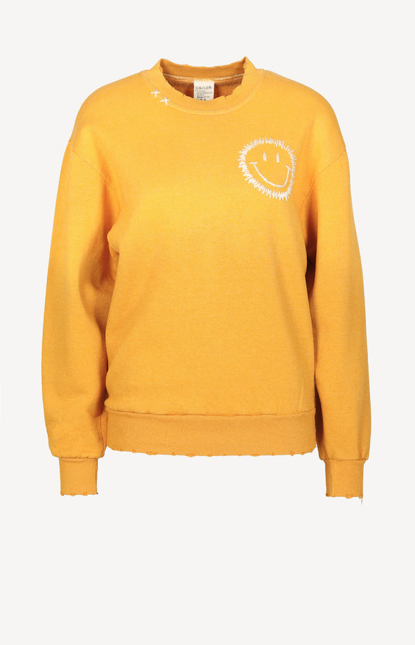 Vintage Sweatshirt Smiley in GelbI Stole My Boyfriend's Shirt - Anita Hass