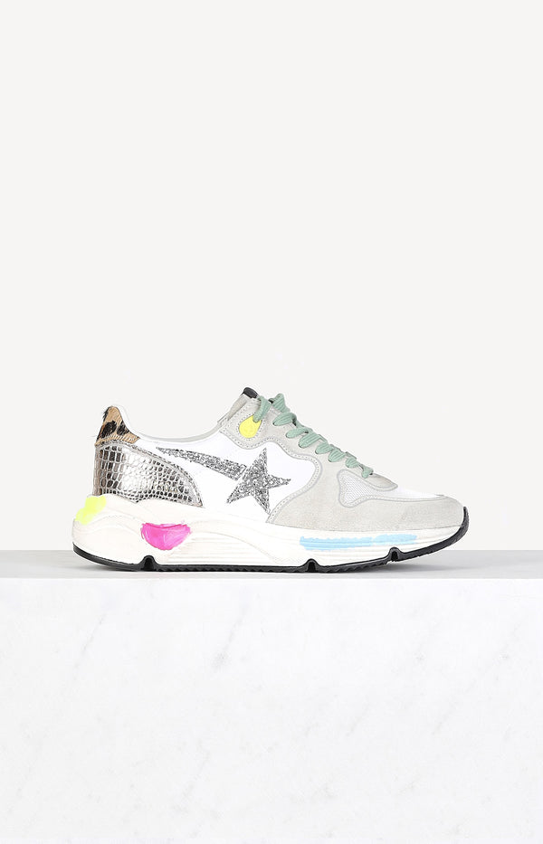 Sneaker Running Sole in Ice Suede/Gold/CoccoGolden Goose - Anita Hass