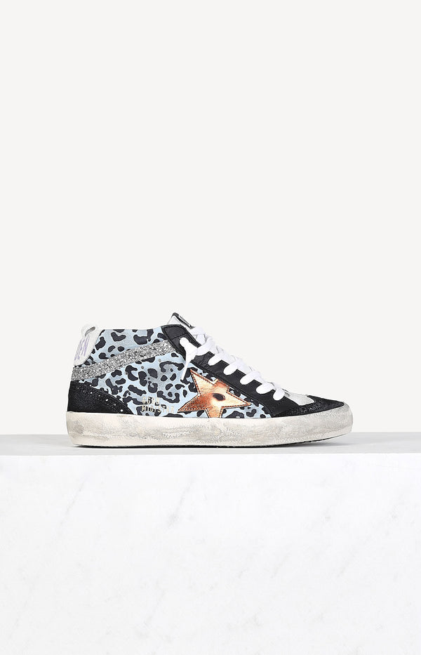 Sneaker Mid Star in Light Blue LeopardGolden Goose - Anita Hass