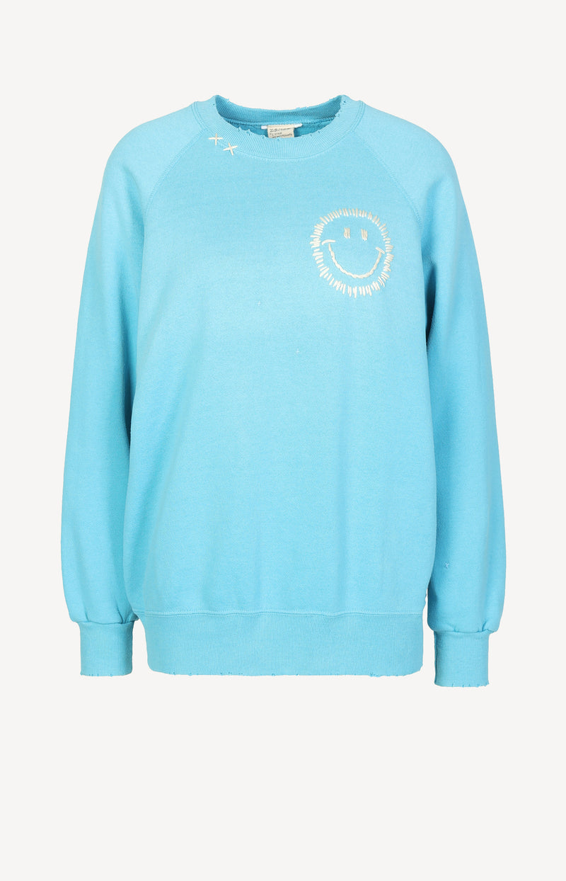 Vintage Sweatshirt Smiley in BlauI Stole My Boyfriend's Shirt - Anita Hass
