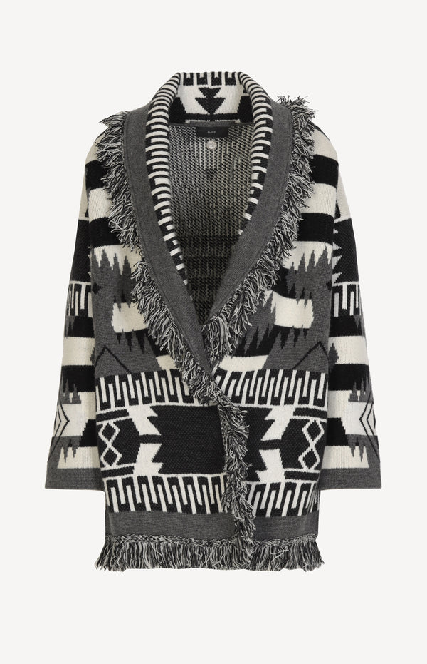 Cardigan Icon Grunge Stripe in Schwarz/Off-WhiteAlanui - Anita Hass