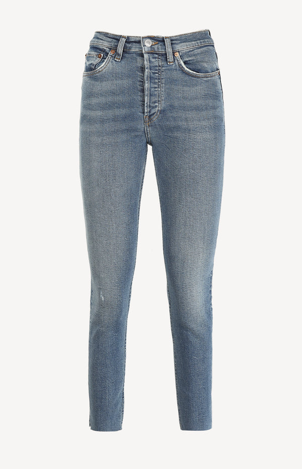 Jeans High Rise Ankle Crop in Aged BlueRE/DONE - Anita Hass