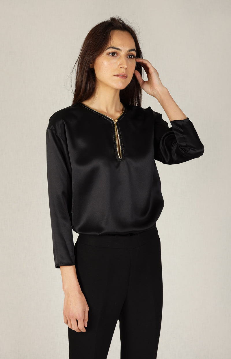 Bluse Silk Satin Tunic in SchwarzTory Burch - Anita Hass