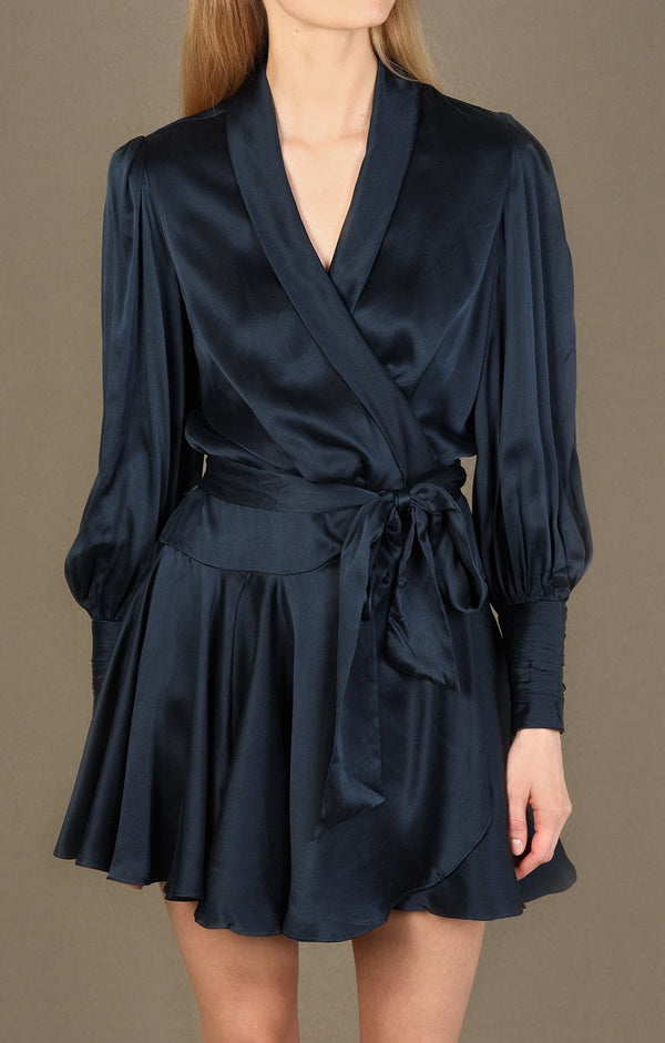 Silk Wrap Minikleid in NavyZimmermann - Anita Hass