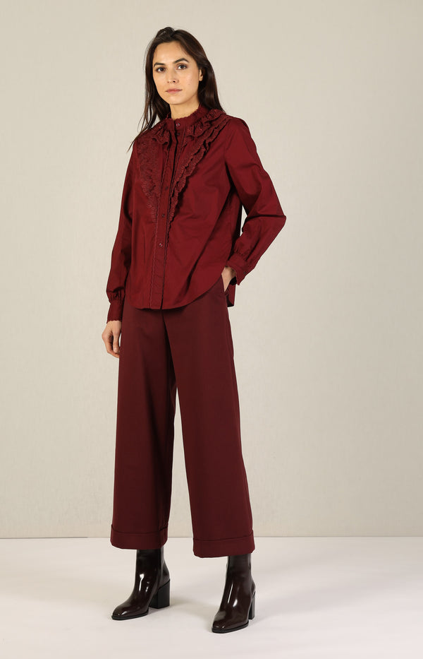 Bluse mit Stickerei in Smoked RedSee by Chloé - Anita Hass
