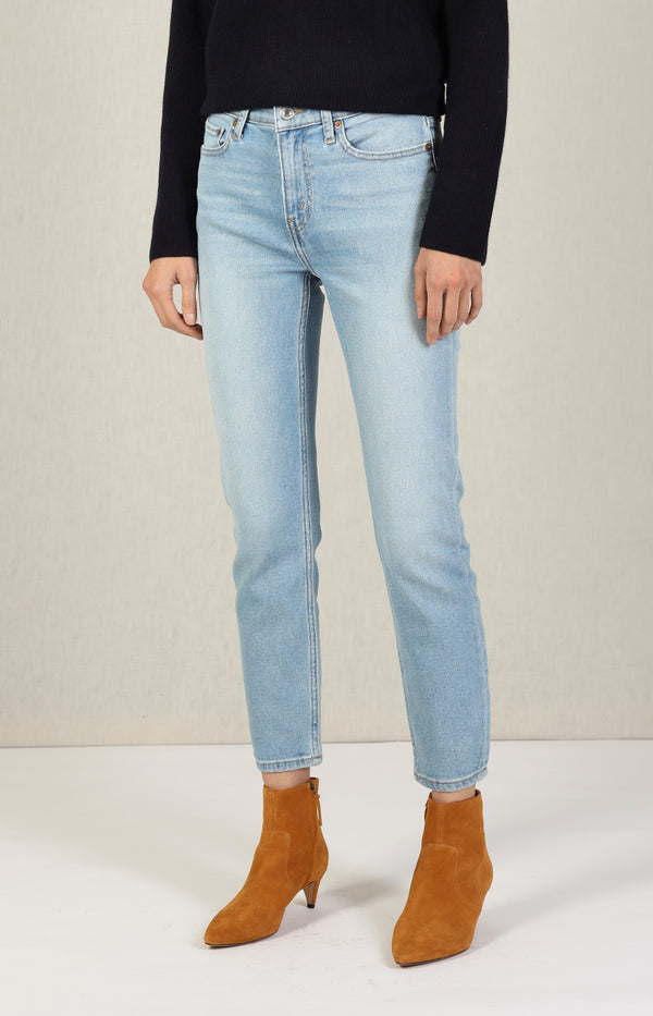 Jeans Mid Rise Ankle Crop in Light 13RE/DONE - Anita Hass