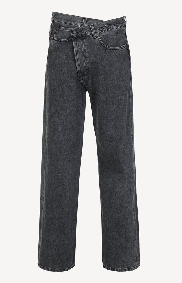 Jeans Wide Leg Cross Over in Stone BlackR13 - Anita Hass