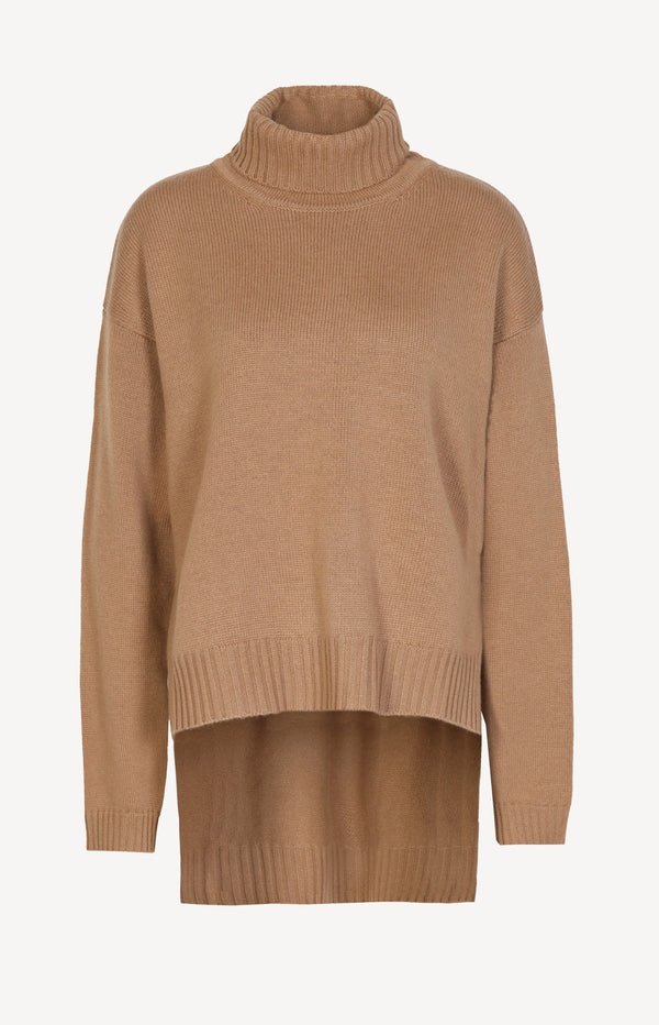 Kaschmirpullover mit High-Low-Saum in CognacTom Ford - Anita Hass