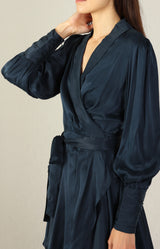 Silk Wrap Mini Dress in French NavyZimmermann - Anita Hass