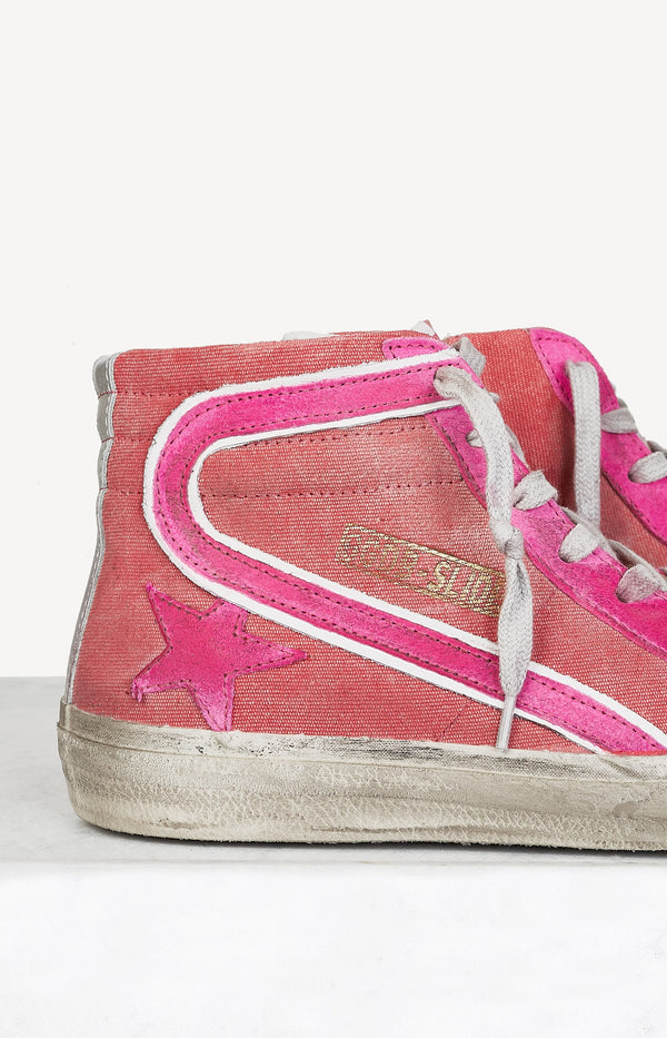 Sneaker Slide aus Canvas Highlighter PinkGolden Goose - Anita Hass