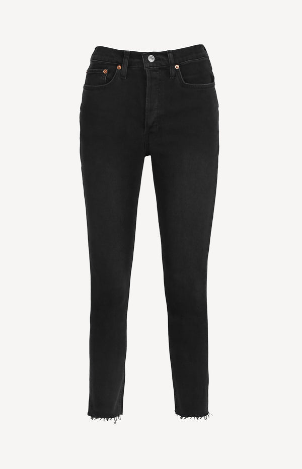 Jeans High Rise Ankle Crop in Faded BlackRE/DONE - Anita Hass
