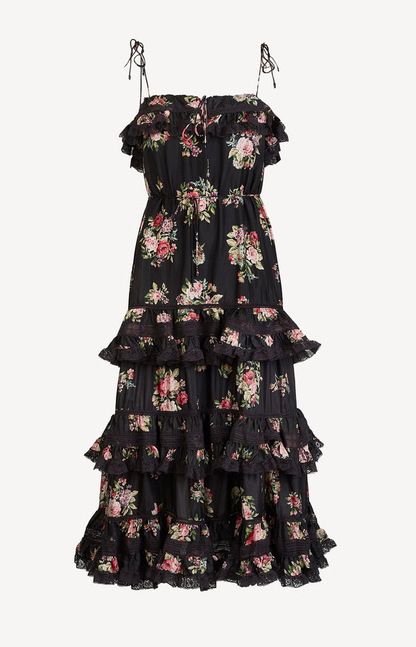 Kleid Honour Tiered Tie Black FloralZimmermann - Anita Hass