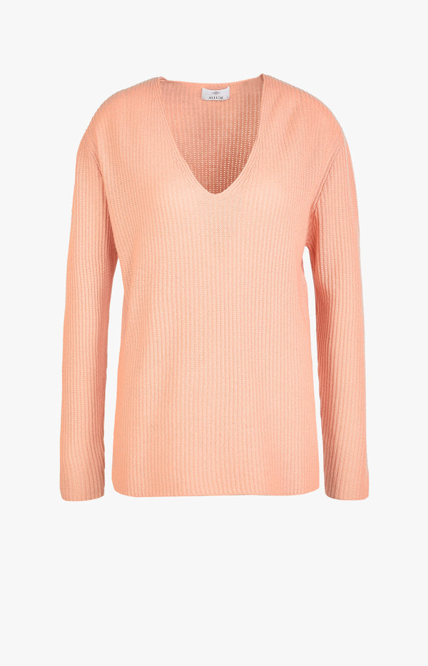 V-Neck Sweater Kaschmir FlamingoAllude - Anita Hass