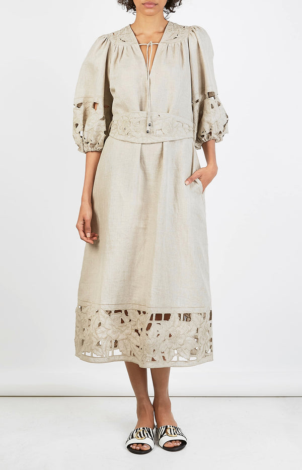 Kleid Juno Embroidered Yoke NaturalZimmermann - Anita Hass