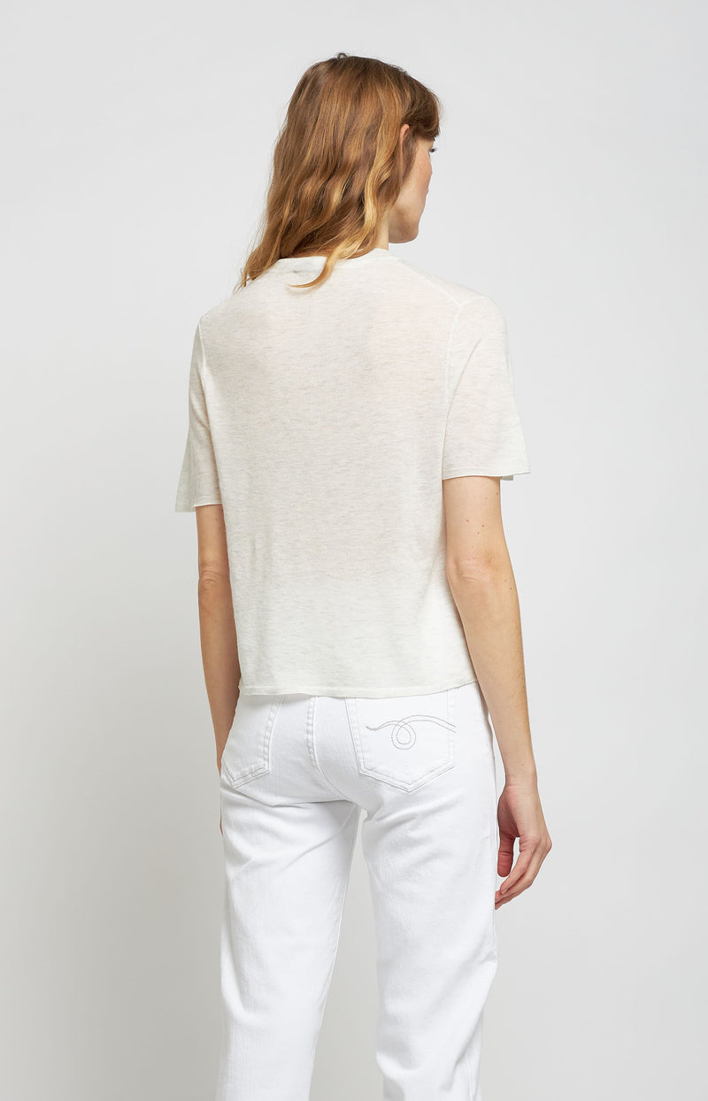 Cashmere Shirt Easy Crew in Heather WhiteVince - Anita Hass