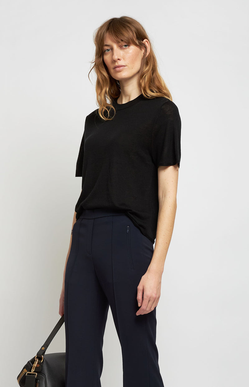 Cashmere Shirt Easy Crew in SchwarzVince - Anita Hass