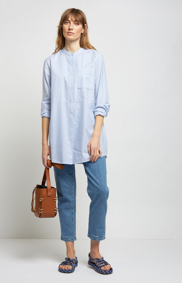 Gestreiftes Top in Blue Dusk/WeißTory Burch - Anita Hass