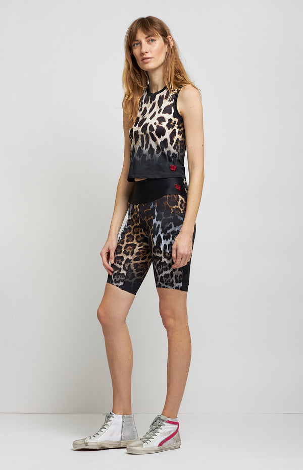 Biker Shorts in Black Faded LeopardR13 - Anita Hass