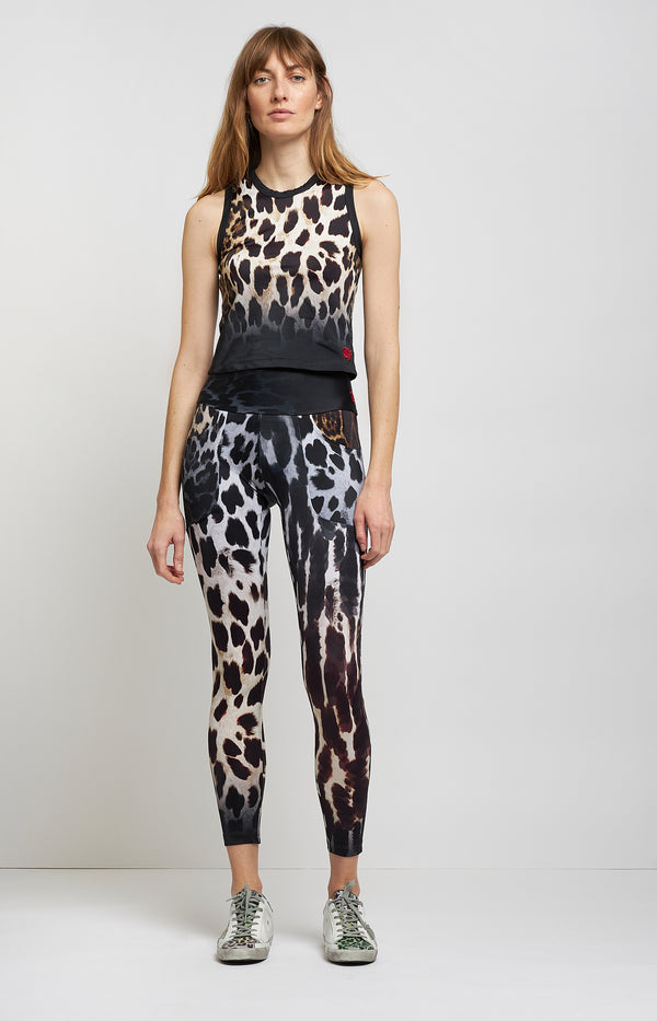 Cropped Tank Top in Black Faded LeopardR13 - Anita Hass