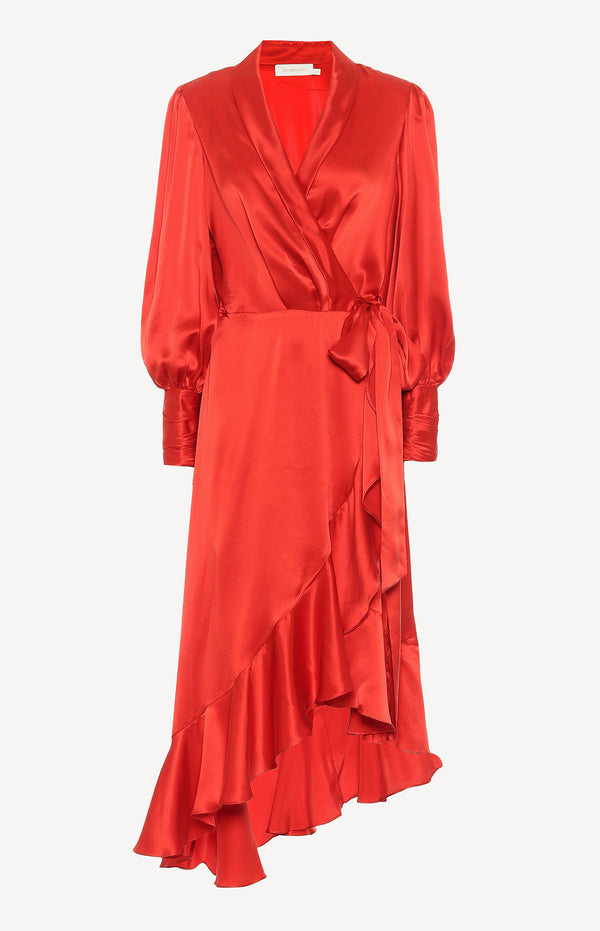 Silk Wrap Midi Dress in ScarletZimmermann - Anita Hass