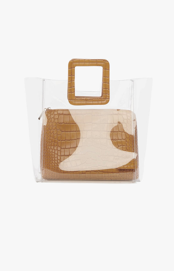 Tasche Shirley Medium Clear/Tan CrocStaud - Anita Hass