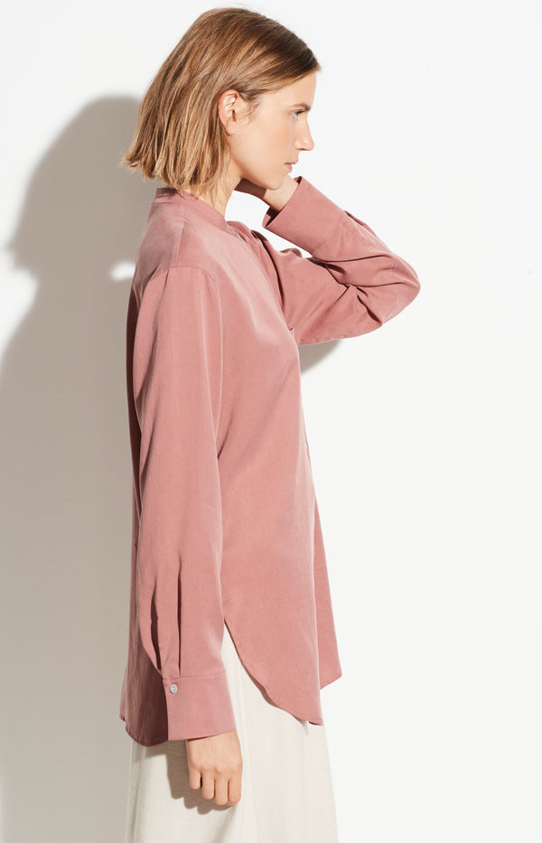 Bluse Relaxed Band Collar in RosaVince - Anita Hass